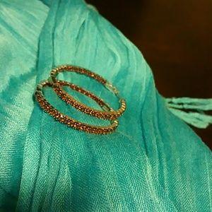 Jewelry - Garnet inside outside hoop earrings